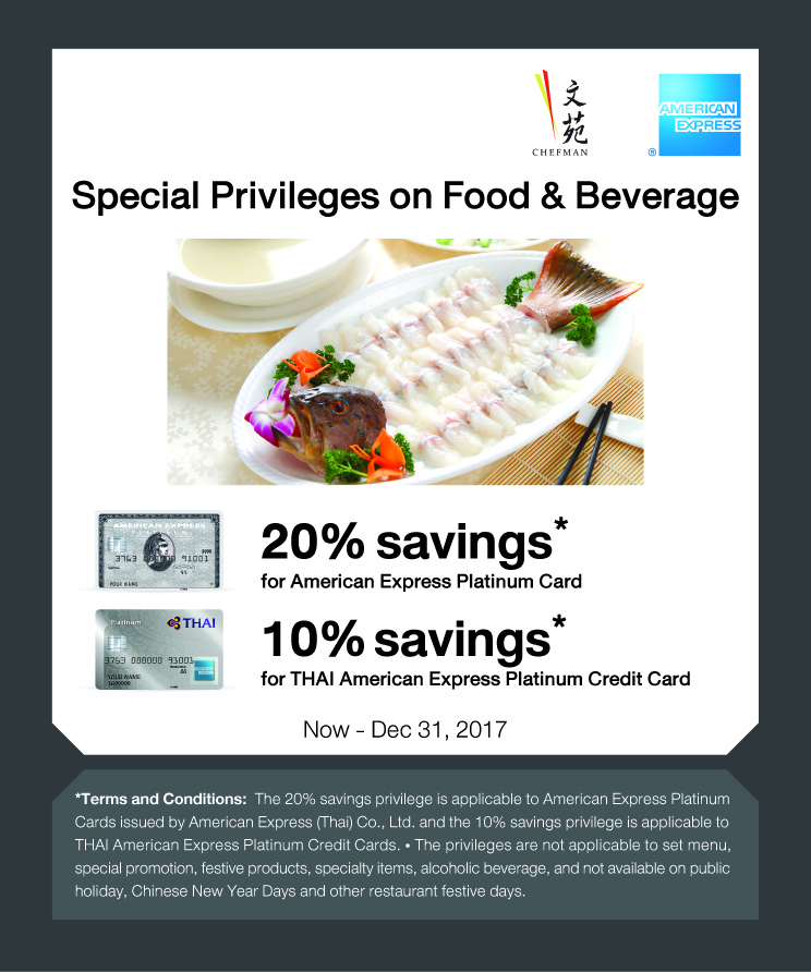 Carte American Express En Chine.Promotions Chef Man Group Of Restaurants
